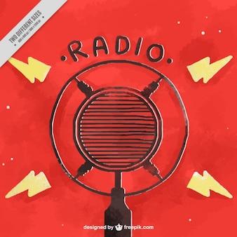 Fundo vermelho da aguarela com microfone para o dia de rádio mundo
