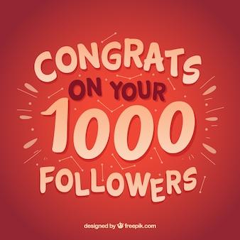 Fundo vermelho de 1000 seguidores
