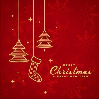 Fundo vermelho de feliz natal com elementos de natal