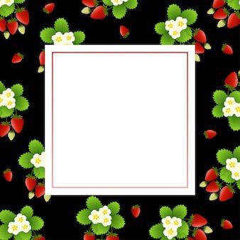 Fundo vermelho de morango e flor com moldura quadrada