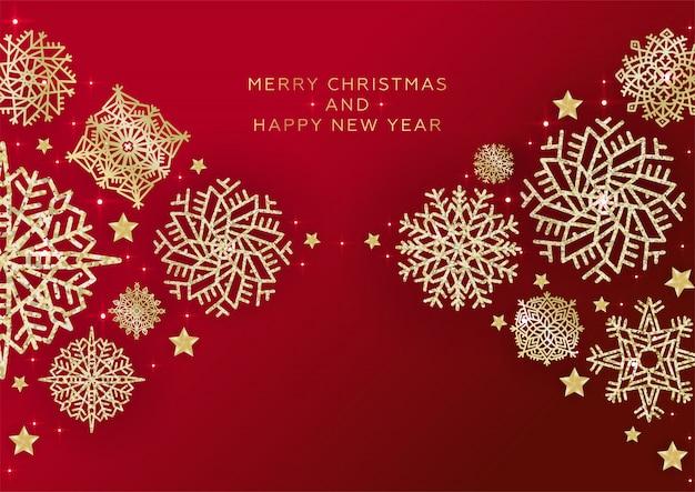 Fundo vermelho de natal com borda feita de flocos de neve de glitter dourados