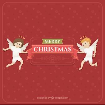 Fundo vermelho de natal com dois anjos