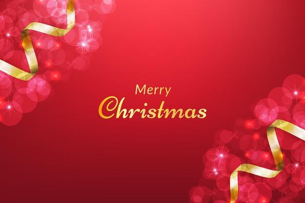 Fundo vermelho de natal com fita e efeito bokeh brilhante.