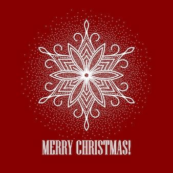 Fundo vermelho de natal com floco de neve, cartão de felicitações