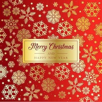 Fundo vermelho de natal com flocos de neve de ouro