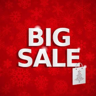 Fundo vermelho de vendas de natal com flocos de neve e inscrição grande venda