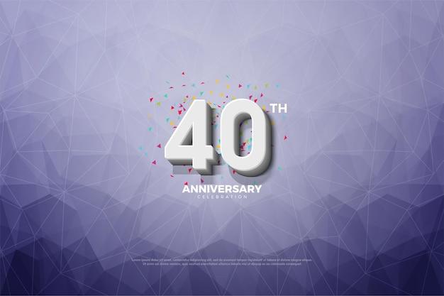 Fundo vermelho do 40º aniversário com números em relevo e sombreados e fundo de papel de cristal.