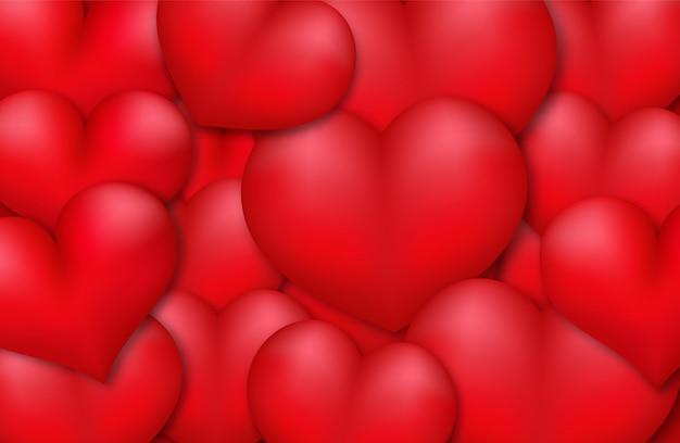 Fundo vermelho do amor dos corações 3d.