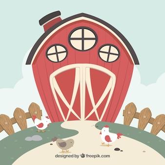 Fundo vermelho do celeiro com galinhas