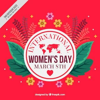 Fundo vermelho do dia da mulher internacional, com detalhes florais