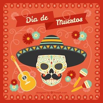 Fundo vermelho do dia dos mortos com crânio mexicano