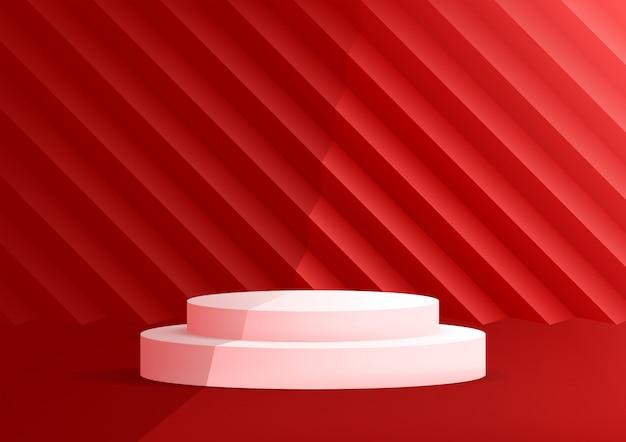 Fundo vermelho do estúdio vazio do pódio para a exposição do produto com espaço da cópia.