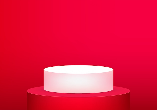 Fundo vermelho do estúdio vazio do pódio para a exposição do produto.