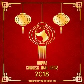 Fundo vermelho e dourado de ano novo chinês