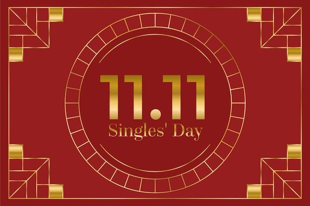Fundo vermelho e dourado do feriado do dia de solteiros