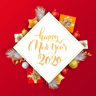 Fundo vermelho e dourado feliz ano novo com bolas de natal