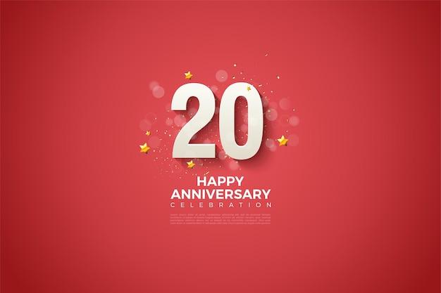 Fundo vermelho e números em relevo e sombreados para o vigésimo aniversário
