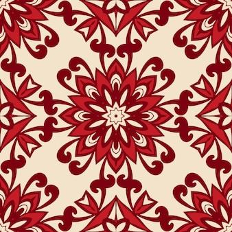 Fundo vermelho e ornamental. teste padrão de flor perfeita. fundo vermelho de natal.