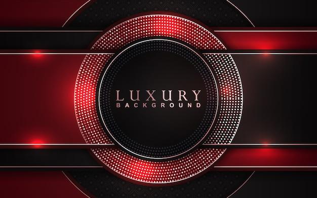 Fundo vermelho e preto luxuoso com decoração de brilhos dourados