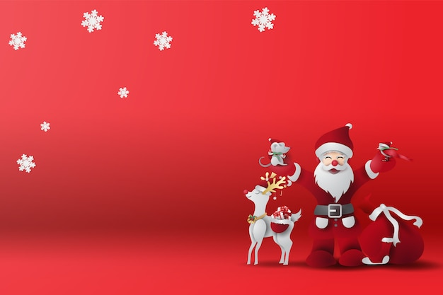 Fundo vermelho feliz natal