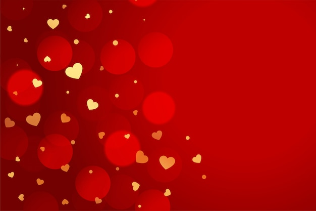 Fundo vermelho lindo dia dos namorados com corações de ouro