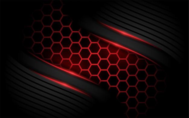 Fundo vermelho moderno do hexágono