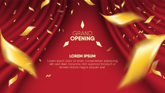 Fundo vermelho realístico da cortina mais o dispersão que confunde os confetes dourados.