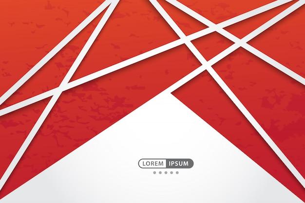 Fundo vermelho vetor geométrico com estilo de linha abstrata