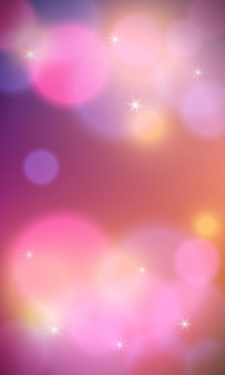 Fundo vertical colorido abstrato com luzes de bokeh e reflexo de lente. ilustração vetorial