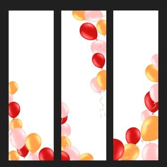 Fundo vertical com balões coloridos de hélio.