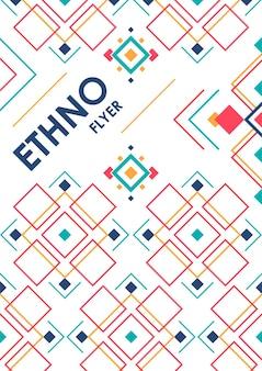 Fundo vertical com ornamentos étnicos geométricos. modelo de cartaz abstrato etno com lugar para texto.