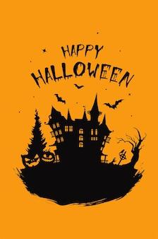 Fundo vertical de halloween com casa assombrada de abóbora