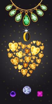Fundo vertical de jóias coração