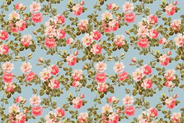 Fundo vintage colorido com padrão de flor de rosa selvagem colorida
