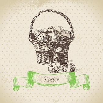 Fundo vintage com cesta de páscoa. ilustração desenhada à mão