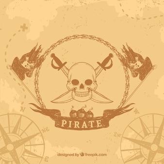 Fundo vintage com emblema de pirata desenhado a mão