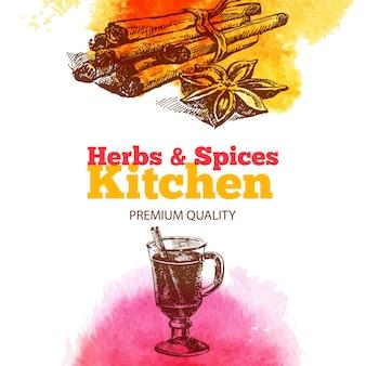 Fundo vintage com esboço desenhado de mão e ervas e especiarias de cozinha em aquarela. design do menu