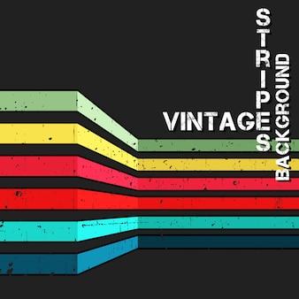 Fundo vintage com listras coloridas de grunge