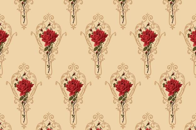 Fundo vintage com padrão de flores ornamentais rosa vermelha