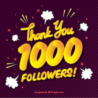Fundo vintage de 1000 seguidores
