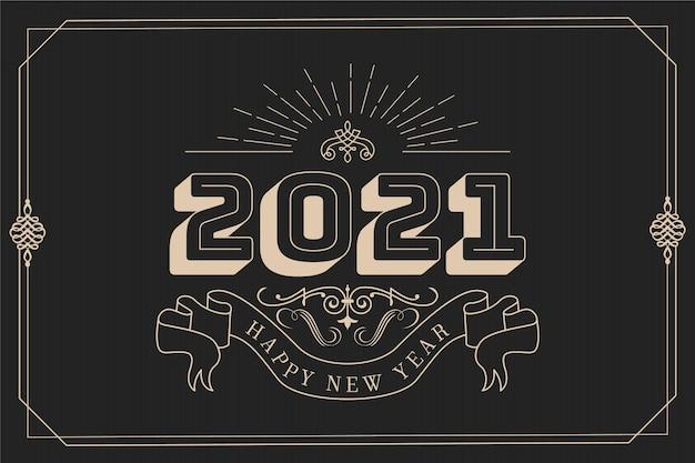 Fundo vintage de ano novo de 2021