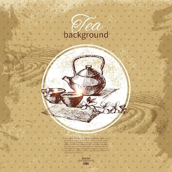 Fundo vintage de chá. ilustração do esboço desenhado de mão. design do menu