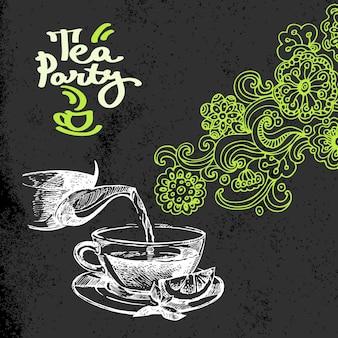 Fundo vintage de chá. ilustração em vetor esboço desenhado à mão. design de quadro-negro de menu e pacote. textura de giz preto. rabiscos florais