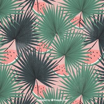 Fundo vintage de folhas de palmeira com melancia