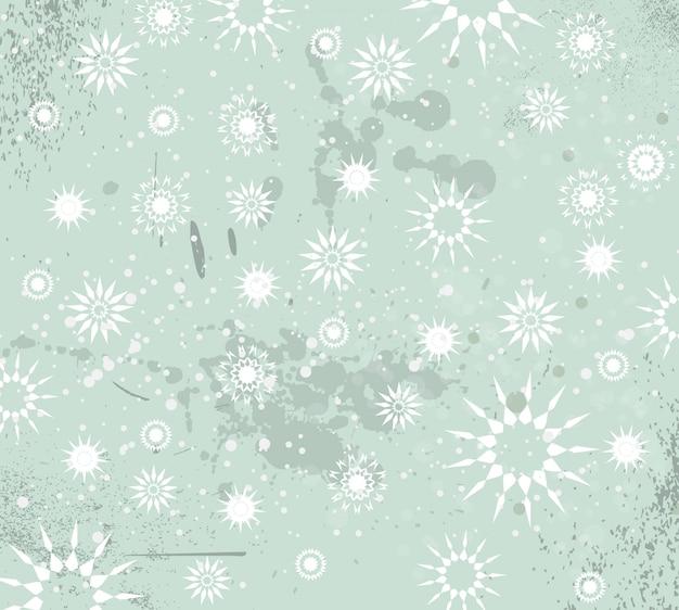 Fundo vintage de natal com gotas, flocos de neve