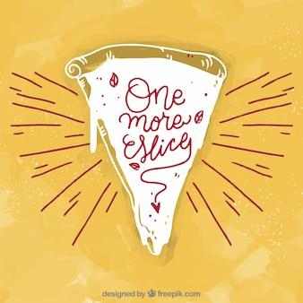 Fundo vintage de pedaço de pizza desenhado à mão