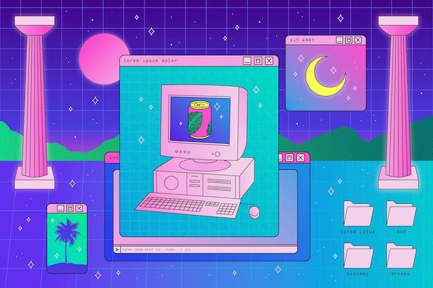 Fundo vintage de vaporwave