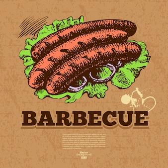 Fundo vintage fast-food. ilustração de mão desenhada. design do menu