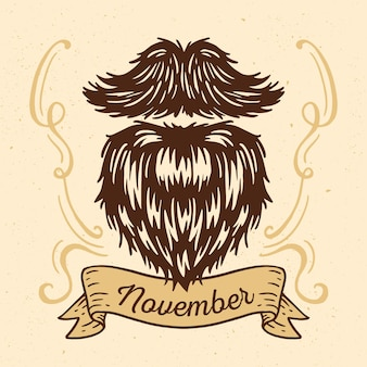 Fundo vintage movember com barba peluda