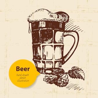 Fundo vintage oktoberfest. ilustração de mão desenhada. design retro com cerveja